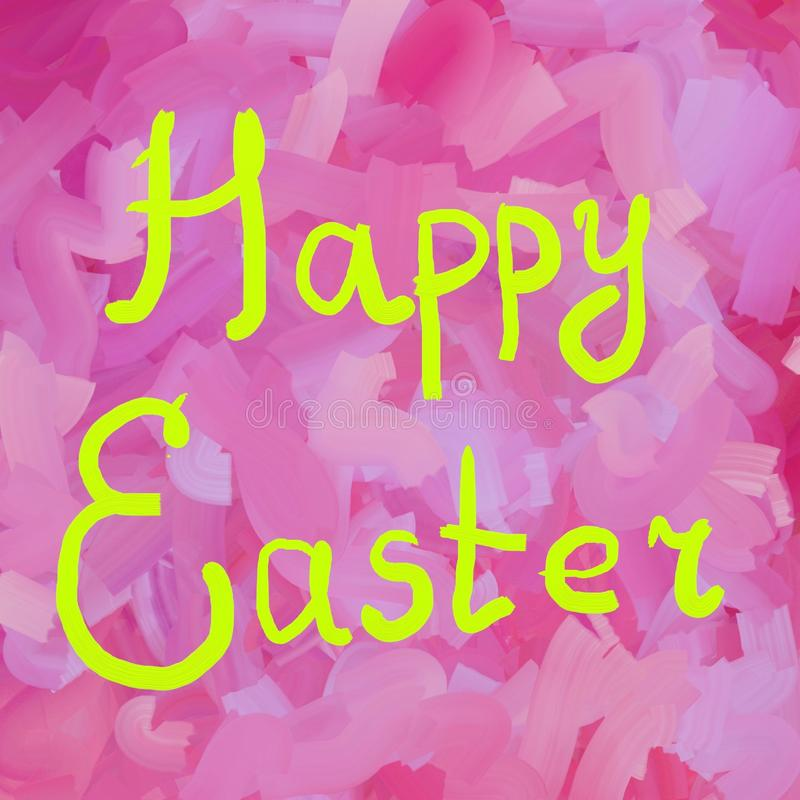 Happy Easter typographic lettering greeting card on pink background. Hand drawn typography for Easter. Handpainted. Happy Easter typographic lettering greeting stock illustration