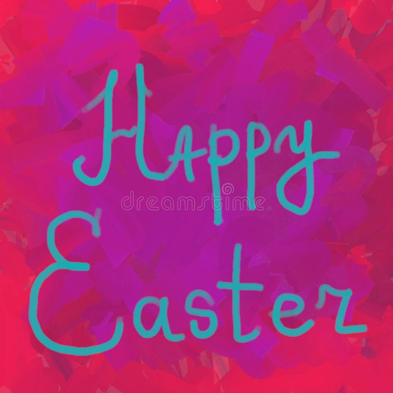 Happy Easter typographic lettering greeting card on pink and red the background. Hand drawn typography for Easter. Hand painted background vector illustration