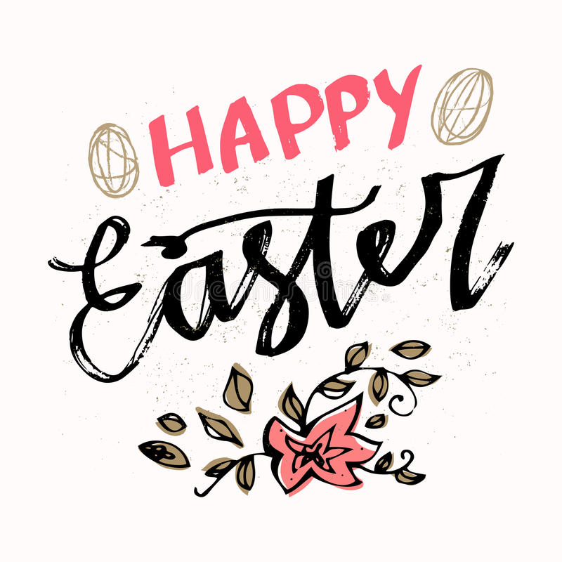 Happy easter typographical background hand drawn