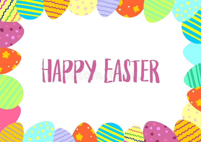 Happy Easter vector card. Easter multicolored eggs frame vector illustration