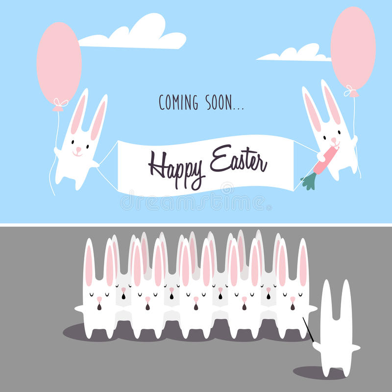 Happy Easter vector cartoon chorus of singing rabbits. Two rabbits holding a poster and flying on balloons royalty free illustration