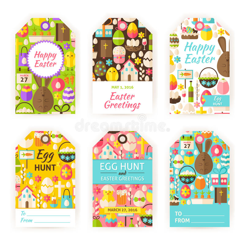 Happy easter vector gift tag template flat set stock vector download happy easter vector gift tag template flat set stock vector illustration of hunt negle Images