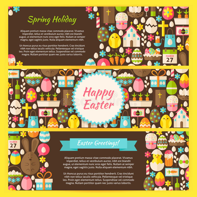 Happy Easter Vector Horizontal Banners Flat Set stock illustration