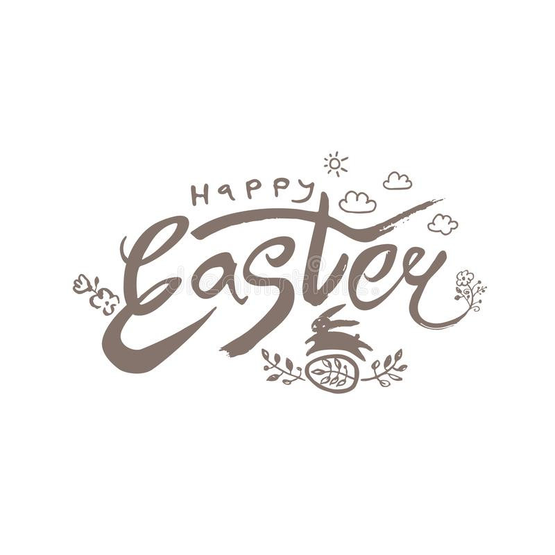 Happy Easter. Vector illustration easter logo dry brush painting. stock illustration
