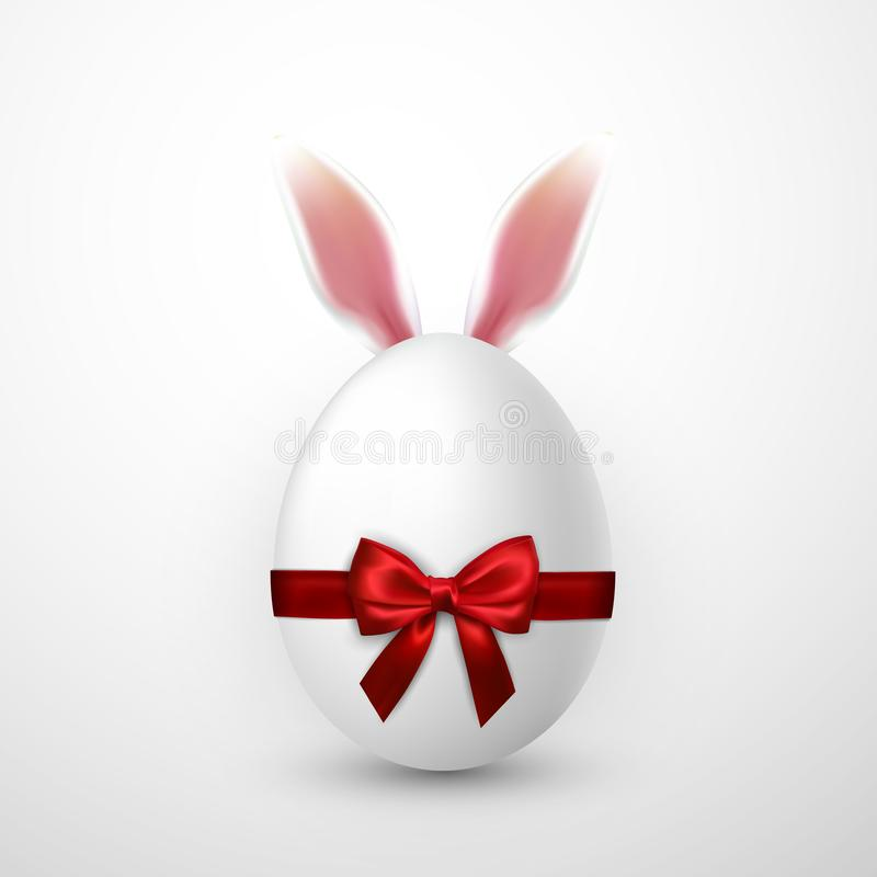 Happy Easter. Vector realistic Easter egg with red bow and Easter Bunny ears, isolated on a gray background royalty free illustration