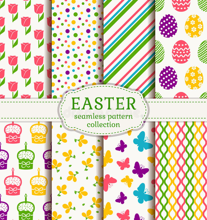 Happy Easter! Vector seamless patterns. stock illustration