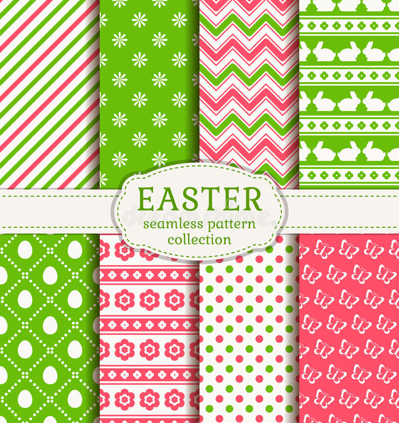 Happy Easter! Vector seamless patterns. Happy Easter! Set of cute holiday backgrounds. Collection of seamless patterns in white, green and pink colors. Vector
