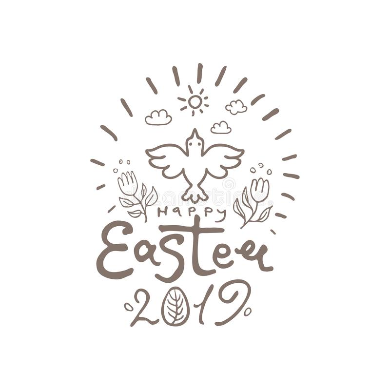 Happy Easter 2019. Vector template with lettering and Spring bird. vector illustration