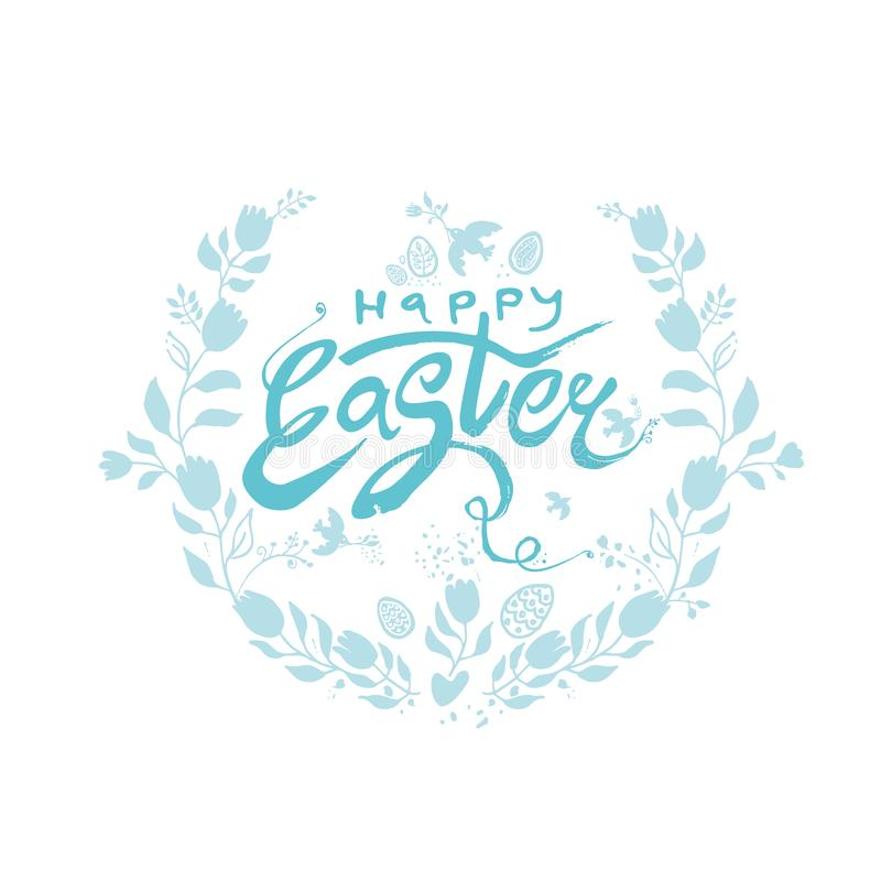 Happy Easter. Vector turquoise logo sketch hand drawn Easter eggs and flowers wreath. Modern calligraphy. royalty free illustration