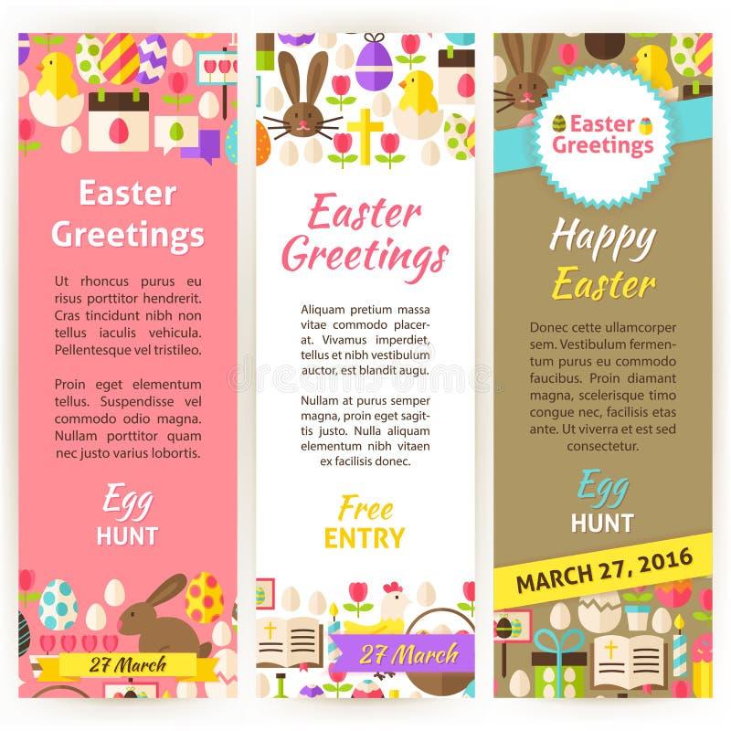 Happy Easter Vector Vertical Flyer Set Stock Vector - Illustration ...