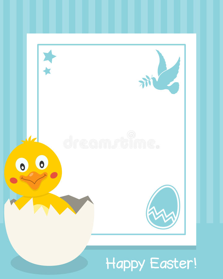 Happy Easter Vertical Frame with Chick royalty free illustration