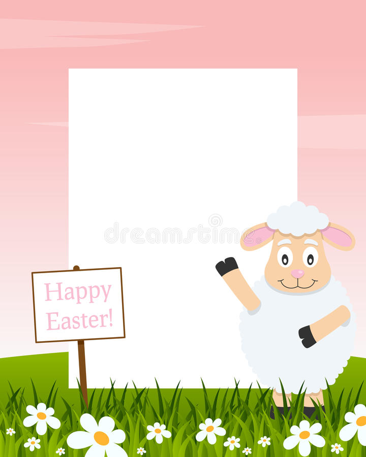 Happy Easter Vertical Frame - Lamb royalty free stock image