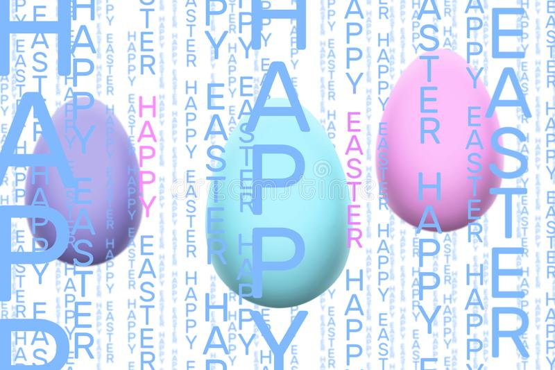 Happy Easter vertical word pattern in light blue and pink on white background with three pastel eggs vector illustration