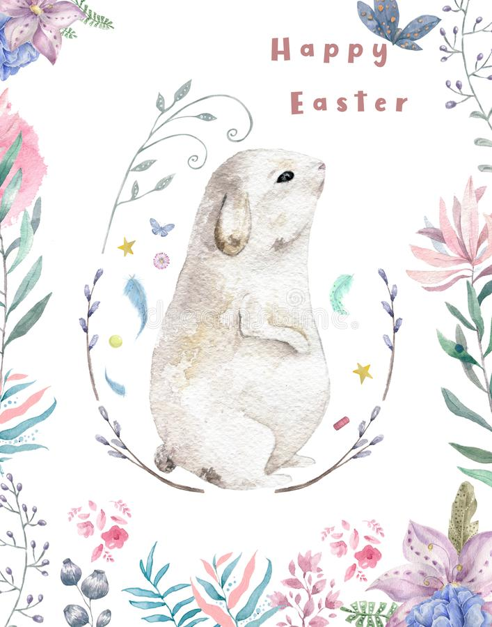 Happy easter, watercolor card. Cute bunny in leaves branch. Isolated illustration, pink flowers background painting willow vector illustration