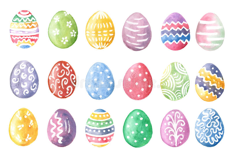 Happy Easter. Watercolor set of hand drawn colored Easter eggs stock illustration