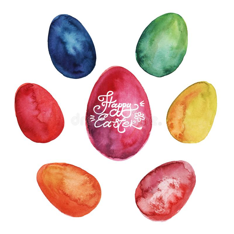 Happy Easter. Watercolor set of hand drawn colored Easter eggs isolated on white background. For greetings card design royalty free illustration