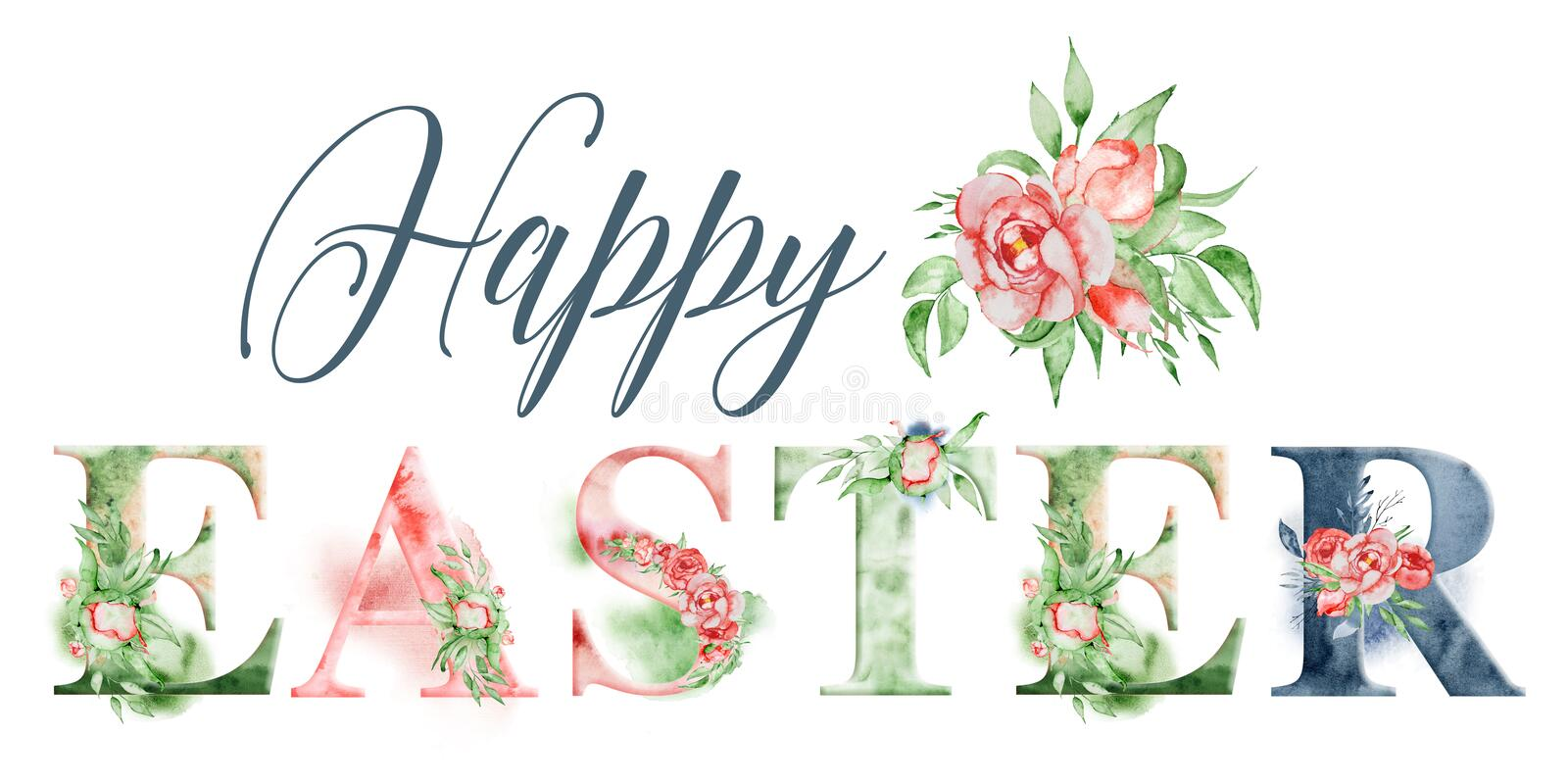 Happy Easter watercolor word design with floral bouquets and crown. Hand drawn lettering, typography inscription. Inspiring label royalty free illustration