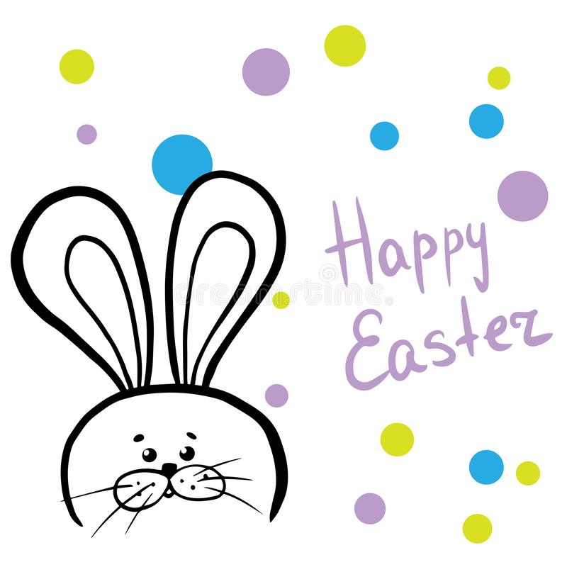 Happy Easter web banner. Greeting card with rabbit. Bunny ears. Vector illustration doodle stock illustration