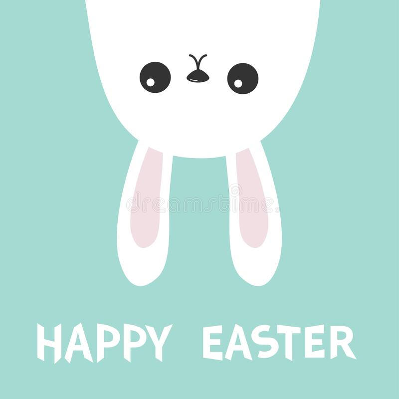 Happy Easter. White bunny hare rabbit hanging upside down. Picaboo. Flat design. Funny head face. Cute kawaii cartoon character. B. Happy Easter. White bunny royalty free illustration
