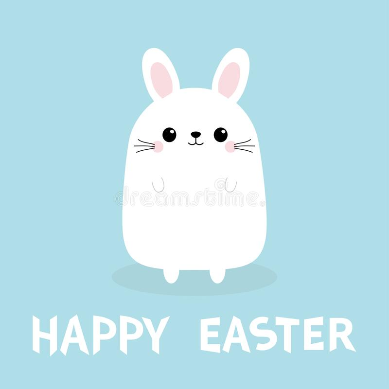 Happy Easter. White bunny rabbit. Funny face head body. Cute kawaii cartoon character. Baby greeting card. Blue background. Flat d stock illustration