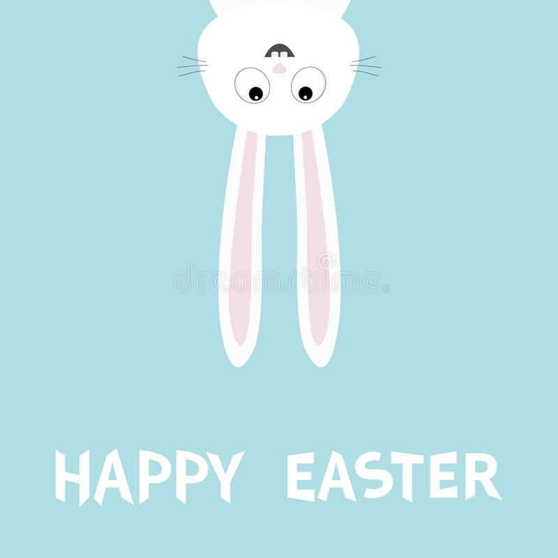 Happy Easter. White bunny rabbit. Funny head face silhouette hanging upside down. Eyes, teeth, big long ears. Cute cartoon charact royalty free illustration