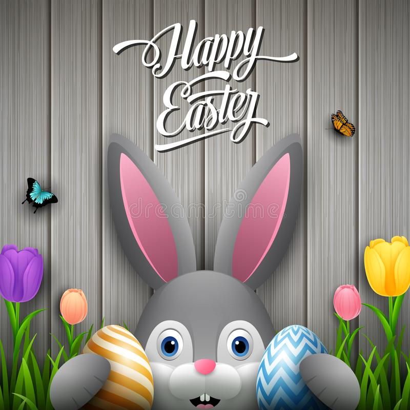 Free Happy Easter With Rabbit Holding Two Egg Colorful On Wooden Gray Background Stock Photo - 113852640