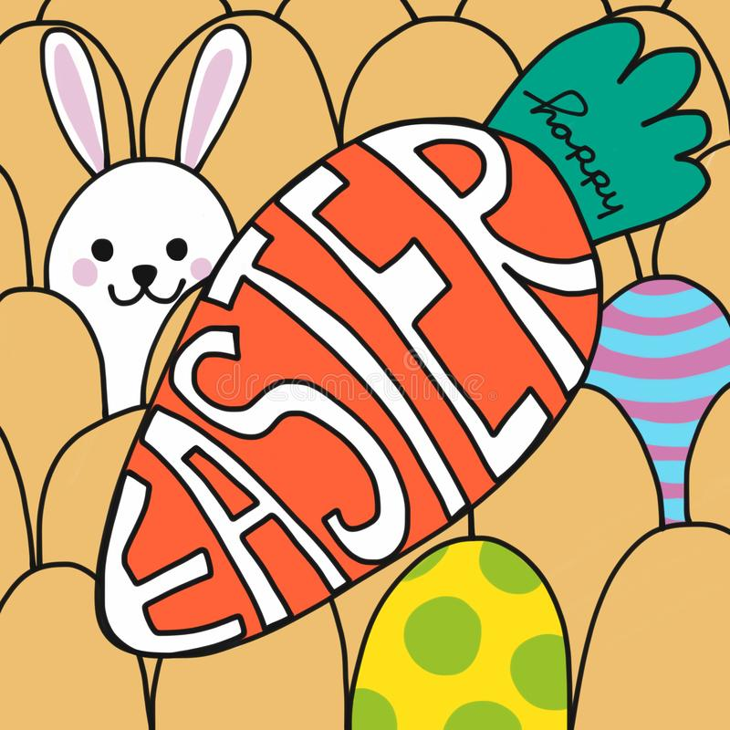 Happy Easter word on carrot and cute rabbit painting cartoon illustration. Happy Easter word on carrot and cute rabbit watercolor painting cartoon illustration stock illustration
