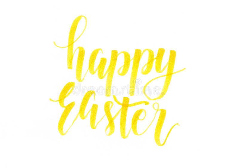 Happy Easter - yellow hand lettering inscription stock illustration
