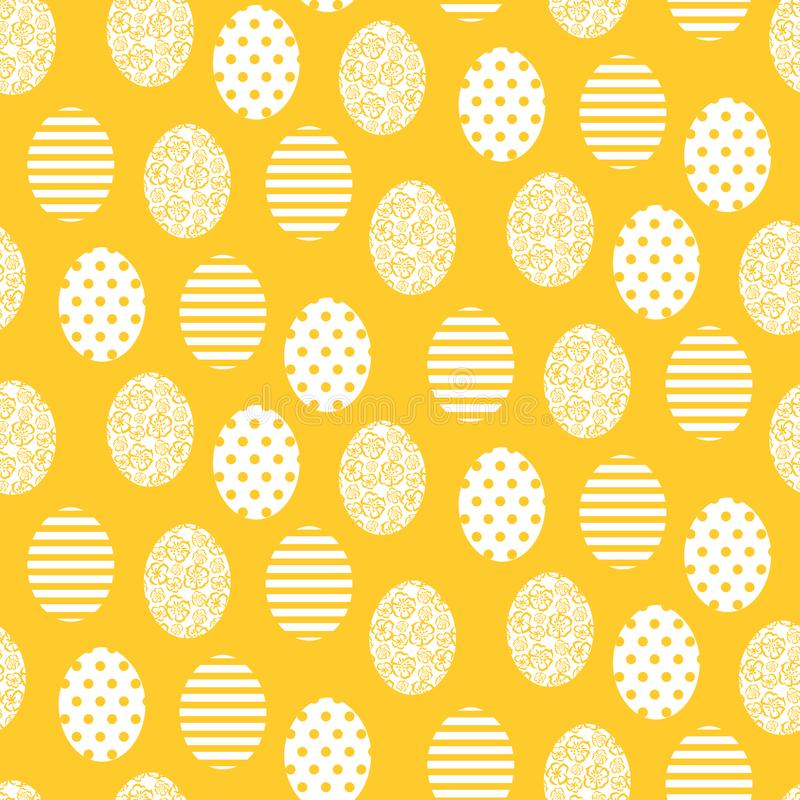 Happy Easter yellow and white cute egg seamless pattern. vector illustration