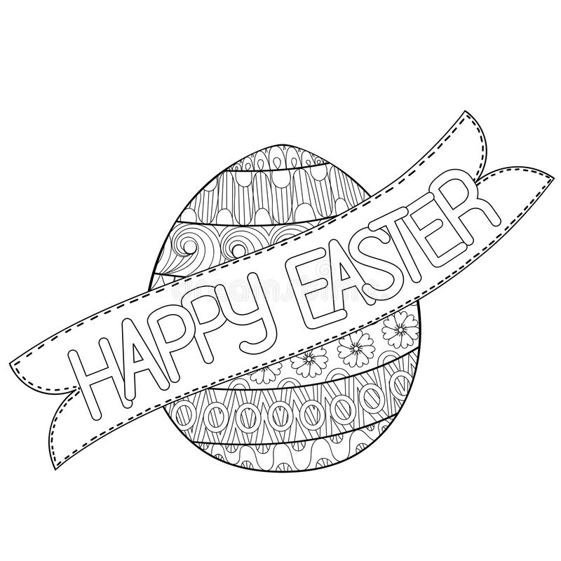 Download Happy Easter Zentangle Egg Decorated With Ornament Design Doodl Stock Vector