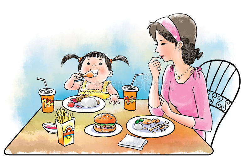 Happy eat. The daughter eat in gusto while mother happily watching her vector illustration