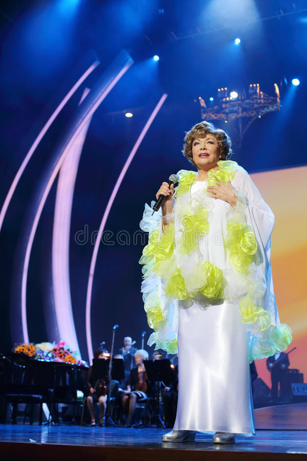 Download Happy Edyta Piecha With Microphone At Her Anniversary Concert Editorial Image - Image of kremlin, music: 33462810