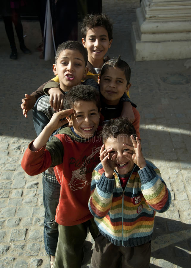 Happy Egyptian boys royalty free stock images