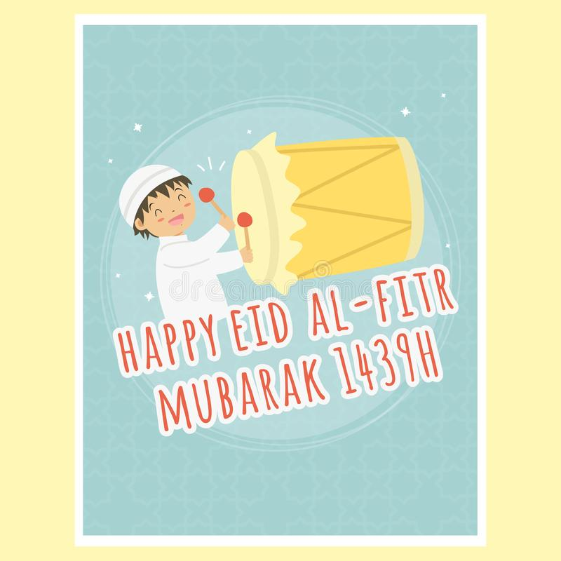 Happy Eid Al-Fitr Greeting Card, Boy Hitting Bedug Vector. Happy boy hitting `Bedug` cartoon vector, Ramadan greeting card. Printable Eid Al-Fitr muslim royalty free illustration