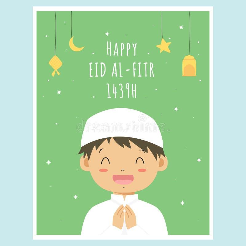 Happy Eid Al-Fitr Greeting Card, Muslim Boy Vector Design royalty free illustration