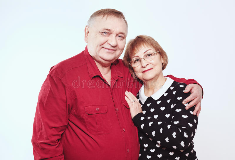 Happy elderly couple stock image