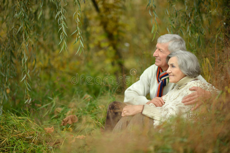 Happy elderly couple. Portrait of a happy elderly couple in autumn park royalty free stock photography