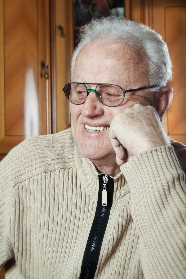 Happy elderly man stock photos