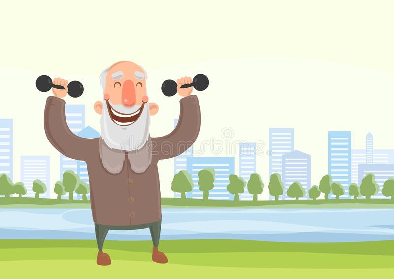 Happy elderly man doing morning sports exercises with dumbbells in city park. Active lifestyle and sport activities in stock illustration