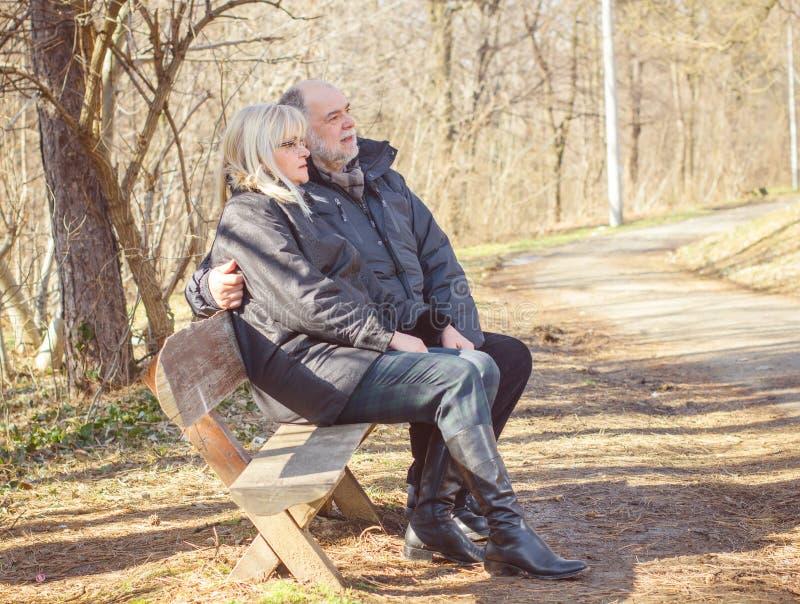 Happy Elderly Senior Couple Relaxing stock photos