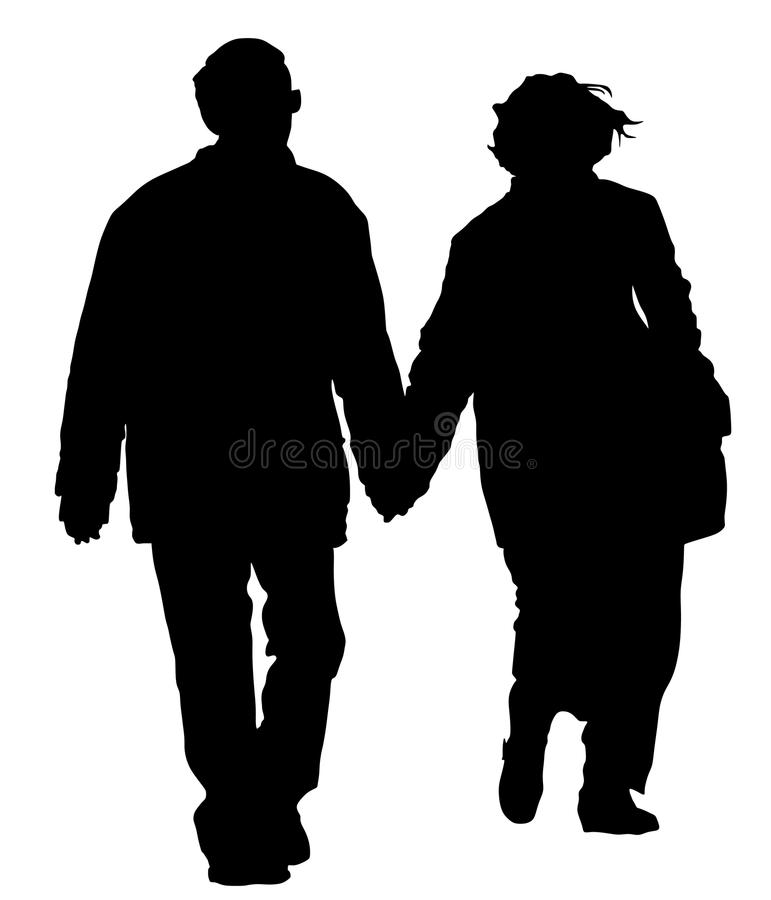 Happy elderly seniors couple hold hands vector silhouette. Mature coupe in love together. stock illustration