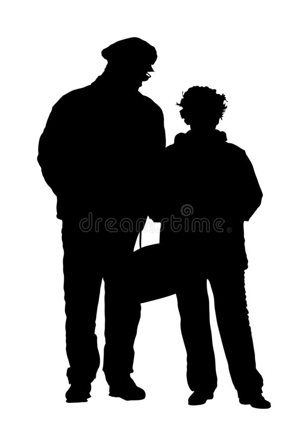 Happy elderly seniors couple together vector silhouette isolated. Old man person walking without stick. Mature old people. royalty free illustration