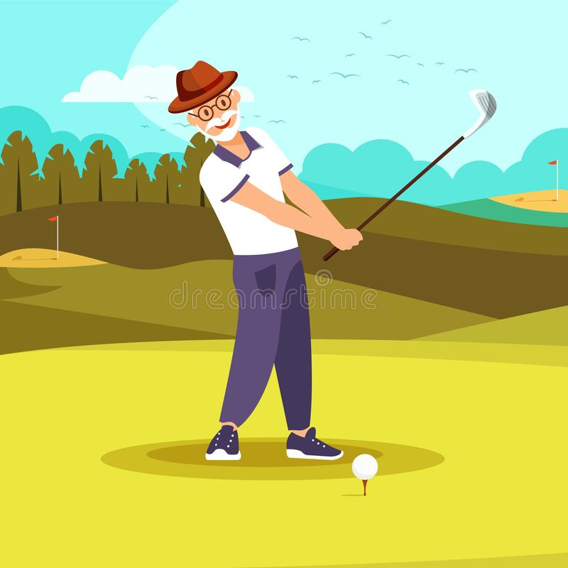 Free Happy Elderly Vigorous Bearded Man Playing Golf Royalty Free Stock Image - 144583906