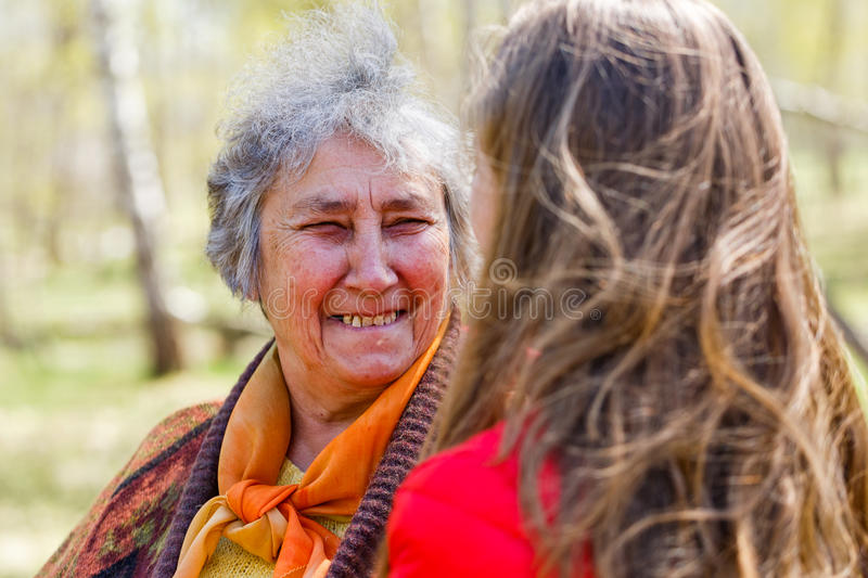 Happy elderly woman with her daughter. Photo of happy elderly women with her daughter having fun royalty free stock photos
