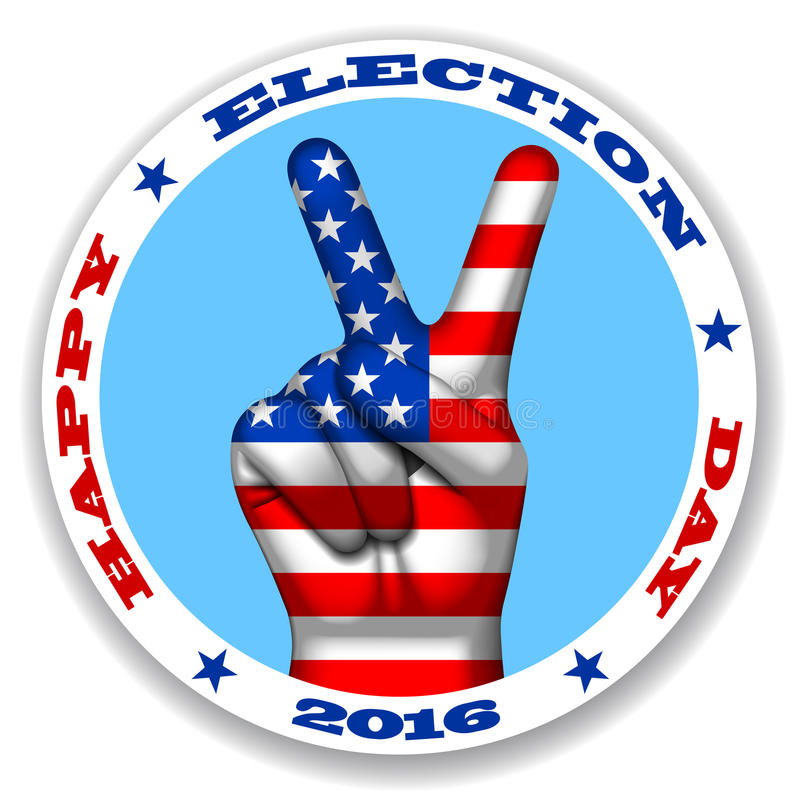 Download happy election day sticker with a victory symbol and american fl stock vector illustration