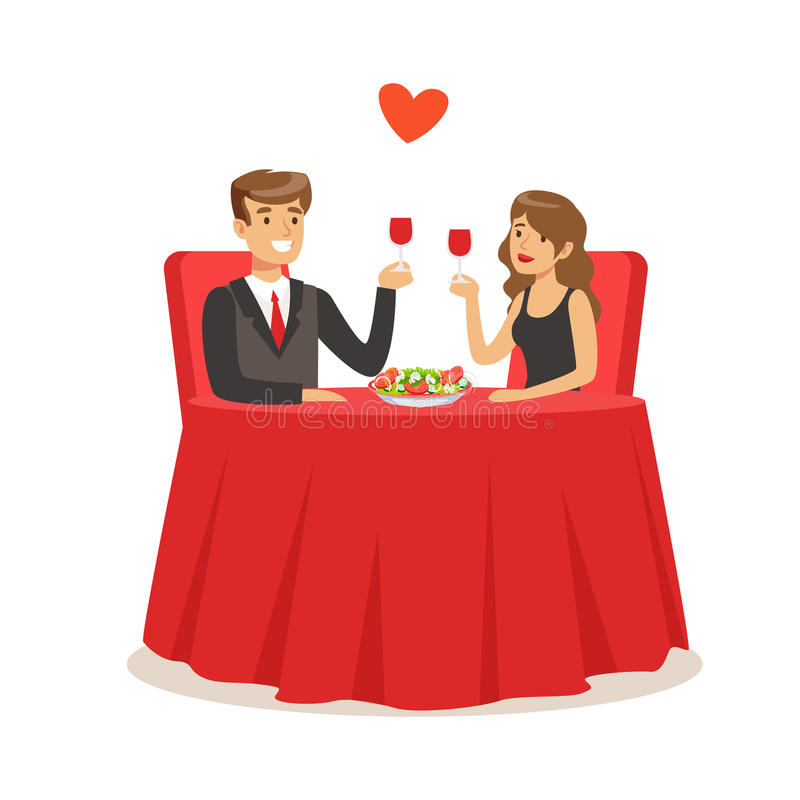Happy elegant couple sitting in a cafe, man and woman holding glasses of red wine enjoying romantic dinner date colorful stock illustration