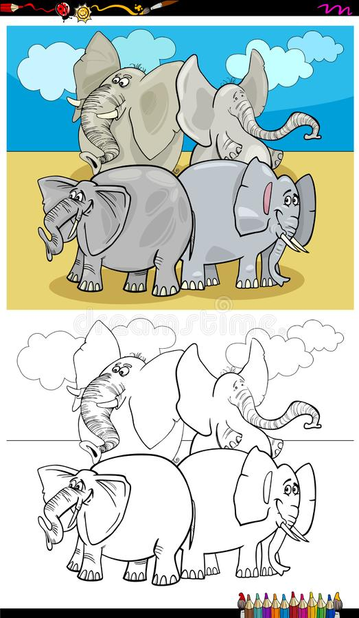 Happy elephants characters group color book. Cartoon Illustration of Happy Elephants Animal Characters Coloring Book Activity stock illustration
