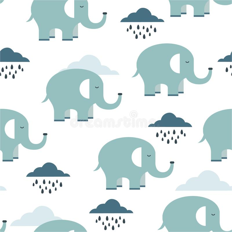 Happy elephants, clouds, seamless pattern. Happy elephants, clouds, hand drawn backdrop. Colorful seamless pattern with animals and water drops. Decorative cute royalty free illustration