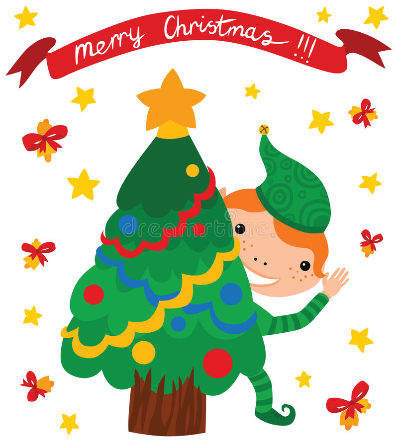 Happy Elf with Christmas Tree vector illustration