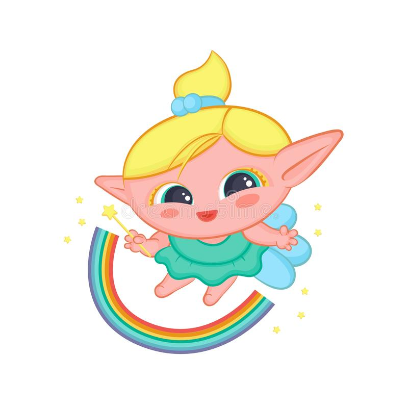 Happy elf fairy with wings conjured rainbow. Cute blond girl good sorceress in dress and with magic wand vector vector illustration